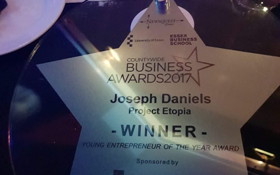 Joseph Daniels wins Young Entrepreneur of the Year in the Essex Business Awards 2017