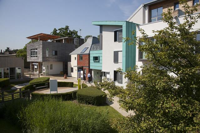 Variety of innovative house designs around a greenspace