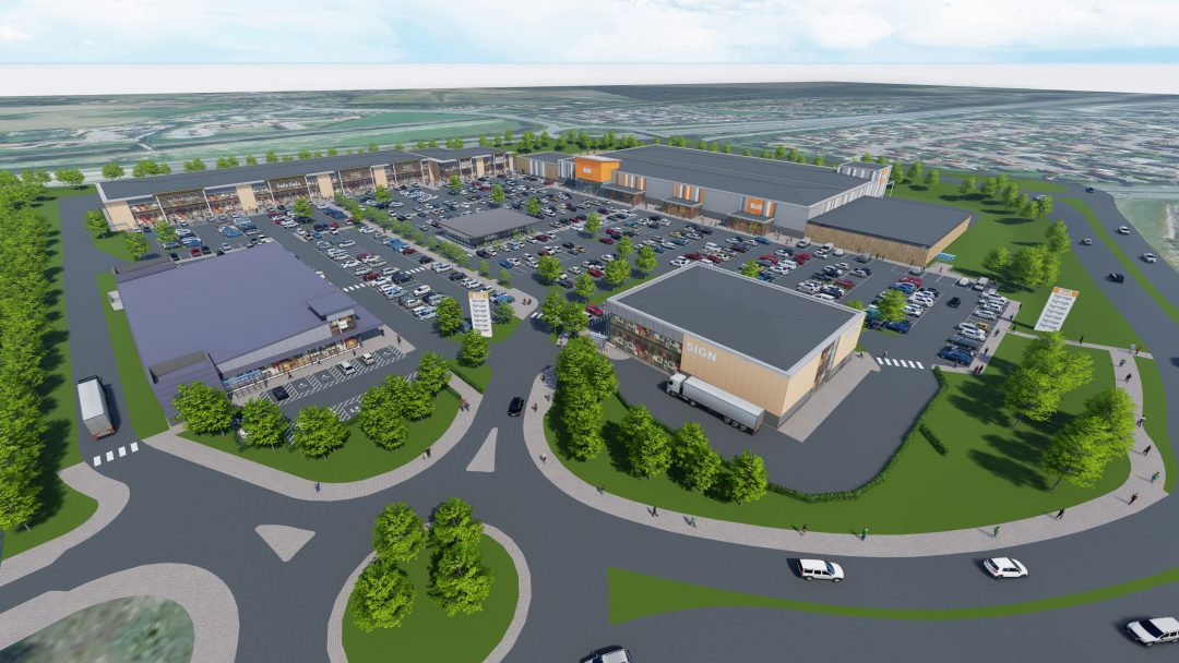 CGI perspective of new retail park in west Colchester